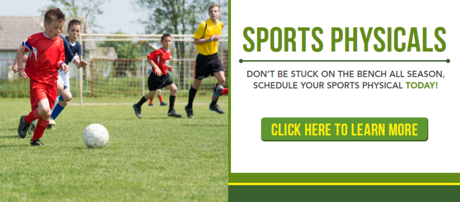 Don't be stuck on the bench all season, schedule your sports physical today!