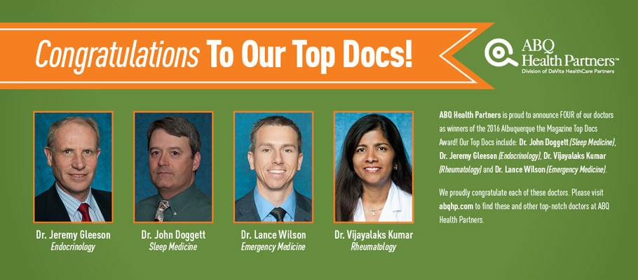 ABQ HEALTH PARTNERS AWARDED SEVEN WITH TOP DOCS HONORS